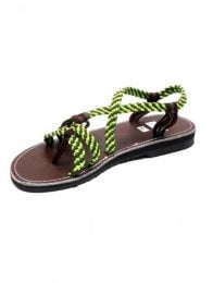 Hippie sandal with green cotton strips., To buy wholesale or detail in the category Hippie and Alternative Clothing for Men | ZAS Hippie Store. [ZSC12]