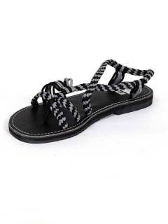 Sandálias hippie de tiras de algodão preto .. Sandálias e tamancos para compra no atacado ou detalhe na categoria de Calçado Hippie para Homem e Mulher | Loja ZAS Hippie. [ZSC14]