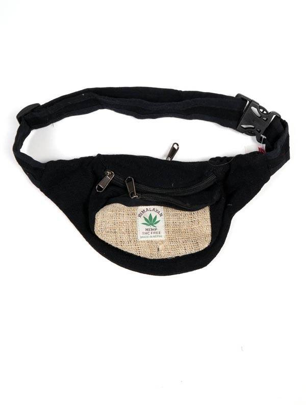 Riñonera clásica de cáñamo bicolor - Negro Comprar al mayor o detalle