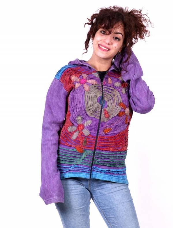 Sudaderas chicas - Sudadera Patch rasgado y croché SUEV08 para comprar al por Mayor o Detalle en la categoría de Ropa Hippie para Mujer