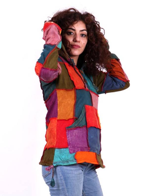 Sudadera hippie patchwork. Sudadera de algodón lavado a la Comprar - Venta Mayorista y detalle
