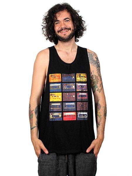 Camiseta tirantes cassettes retro. camiseta de tirantes 100% algodón larga y con los laterales muy abiertos, talla única (m/l) la incluímos en la sección de chicos pero también sirve para chicas. - Detalle Comprar al mayor o detalle
