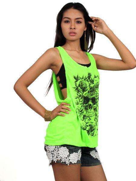 d5cf86e053 Top y Blusas Hippie Boho Ethnic - camiseta tirantes fosfo flower skull.  camsieta de tirantes
