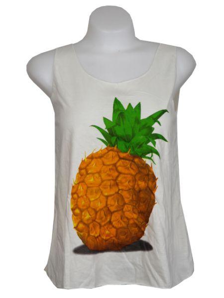 Top algodón frutas,Top de tirantes sencillos con estampados de frutas. Comprar - Venta Mayorista y detalle