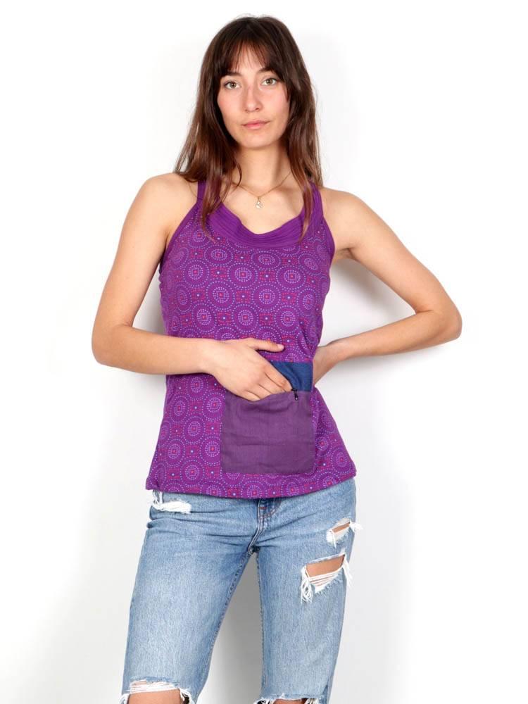 Top hippie estampado con bolsillo TOHC33 para comprar al por mayor o detalle  en la categoría de Ropa Hippie Alternativa para Mujer.