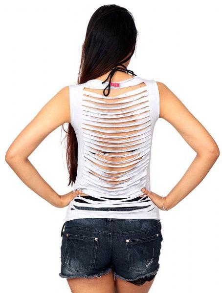Top liso multi rasgado espalda [TOJO05] para Comprar al mayor o detalle