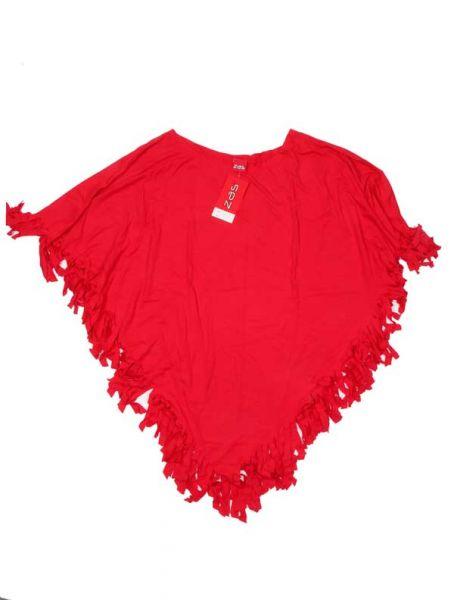 Poncho triangular liso flecos - Rojo Comprar al mayor o detalle