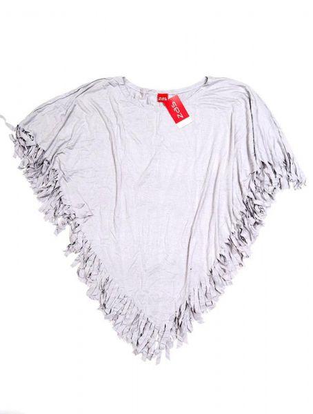 Poncho triangular liso flecos - Gris Comprar al mayor o detalle