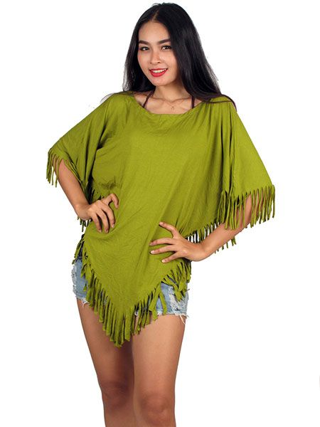 Poncho triangular liso flecos TOJO06 para comprar al por mayor o detalle  en la categoría de Ropa Hippie Étnica para Chicas.