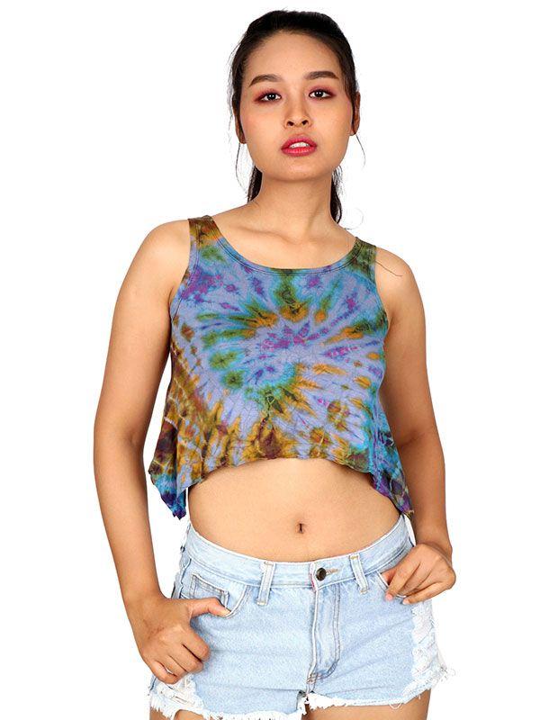 Top mini hippie Tie Dye TOJU01 para comprar al por mayor o detalle  en la categoría de Ropa Hippie Étnica para Chicas.