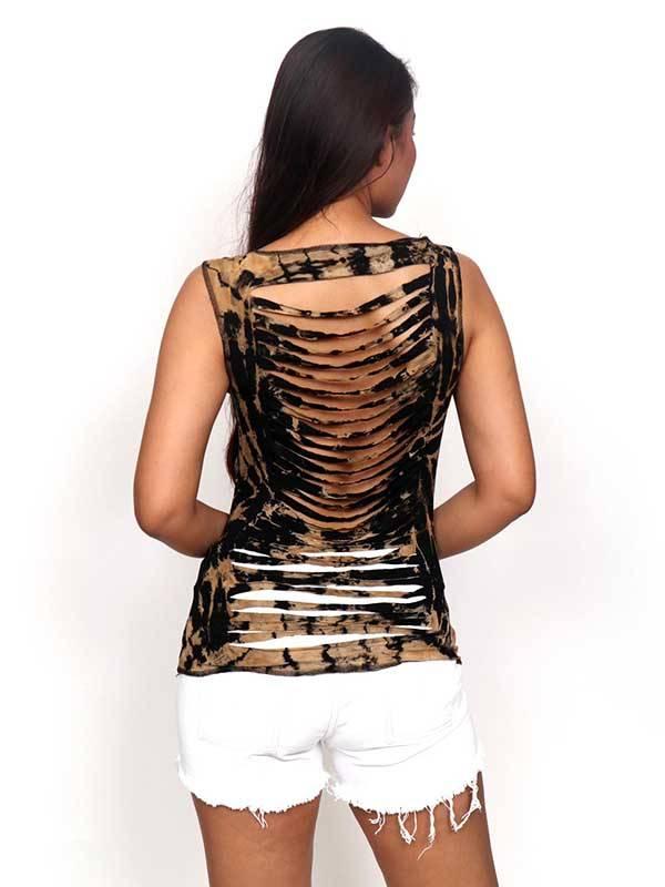Top y Blusas Hippies Alternativas - Top rasgado espalda Tie Dye [TOJU08] para comprar al por mayor o detalle  en la categoría de Ropa Hippie Étnica para Chicas.