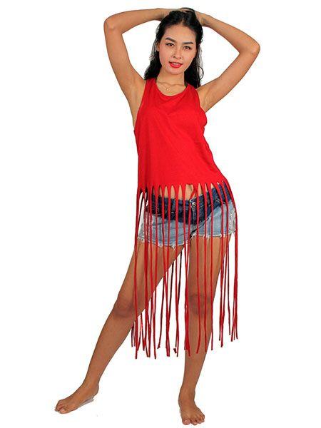 Top y Blusas Hippies Alternativas - Top liso flecos largos [TORC01] para comprar al por mayor o detalle  en la categoría de Ropa Hippie Étnica para Chicas.