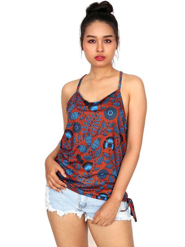 Camisetas y Tops Hippies - Top hippie estampado Flores con aro en espalda TOSN10 para comprar al por Mayor o Detalle en la categoría de Ropa Hippie Alternativa para Mujer