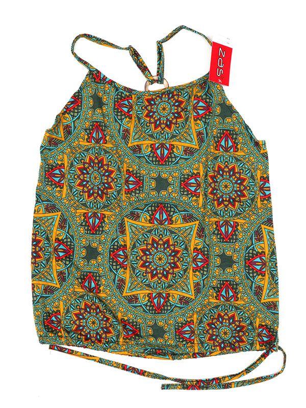 Camisetas y Tops Hippies - Top hippie con estampado mandalas TOSN12 - Modelo Verde