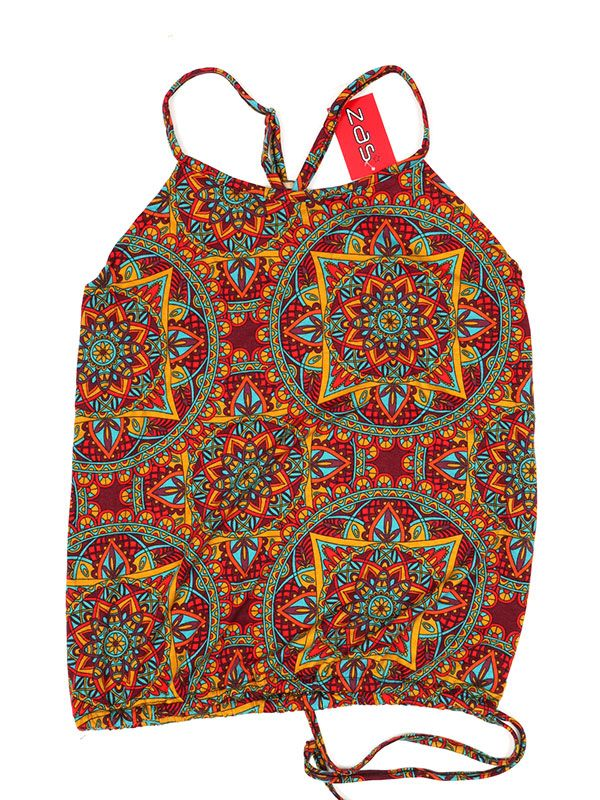 Camisetas y Tops Hippies - Top hippie con estampado mandalas TOSN12 - Modelo Rojo