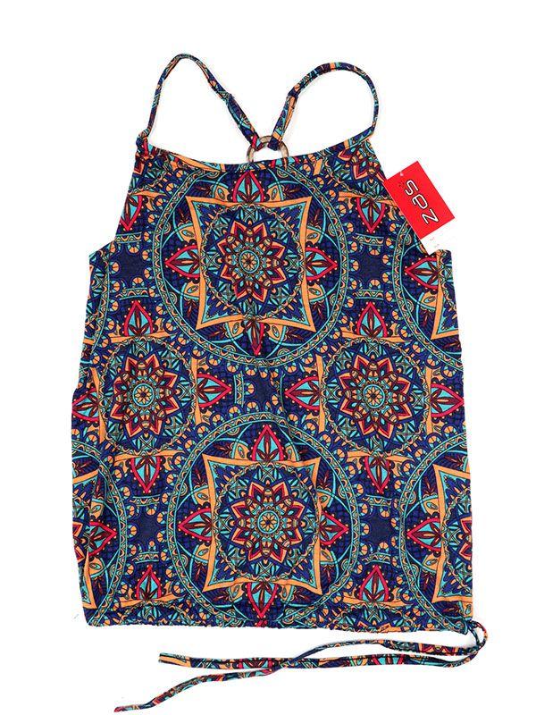 Camisetas y Tops Hippies - Top hippie con estampado mandalas TOSN12 - Modelo Azul