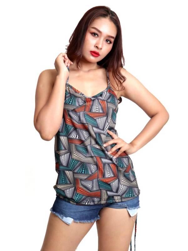 Top hippie estampado Flores con aro en espalda [TOSN13] para comprar al por Mayor o Detalle en la categoría de Camisetas Blusas y Tops