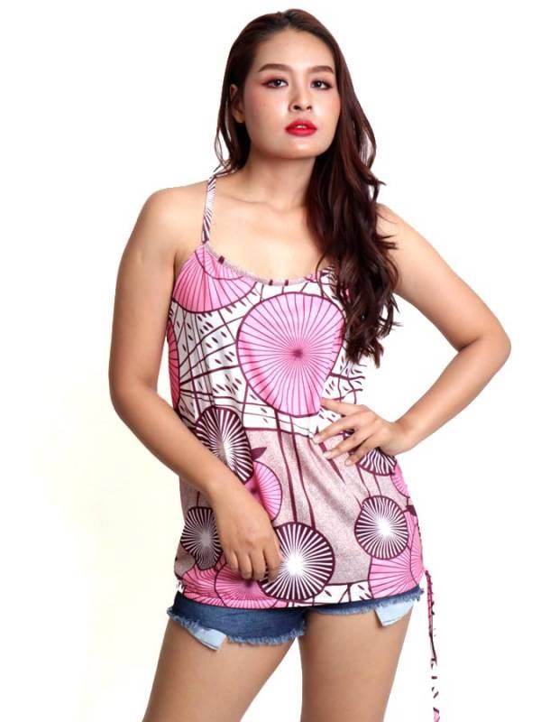 Top hippie estampado Flores con aro en espalda [TOSN14] para comprar al por Mayor o Detalle en la categoría de Camisetas Blusas y Tops
