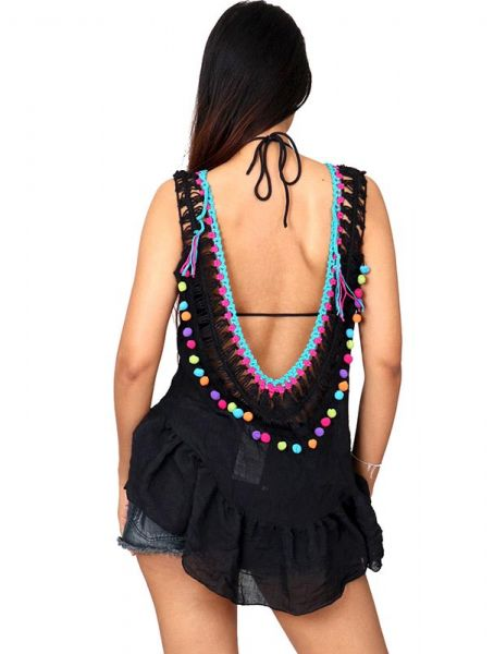 Top hippie de algodón con encajes borlas de colores y detalles Comprar - Venta Mayorista y detalle
