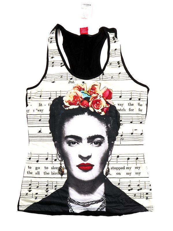Top y Blusas Hippie Boho Ethnic - Top tirantes estampado Frida Kahlo [TOUN38] para comprar al por mayor o detalle  en la categoría de Ropa Hippie Alternativa para Mujer.