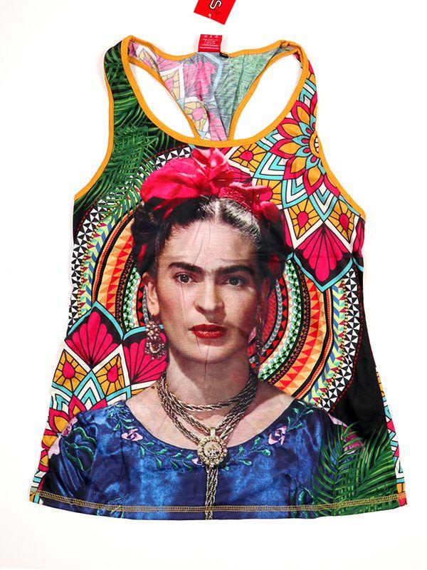 Top y Blusas Hippie Boho Ethnic - Top tirantes estampado Frida Kahlo [TOUN39] para comprar al por mayor o detalle  en la categoría de Ropa Hippie Alternativa para Chicas.