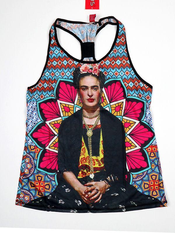 Top y Blusas Hippie Boho Ethnic - Top tirantes estampado Frida Kahlo [TOUN40] para comprar al por mayor o detalle  en la categoría de Ropa Hippie Alternativa para Chicas.