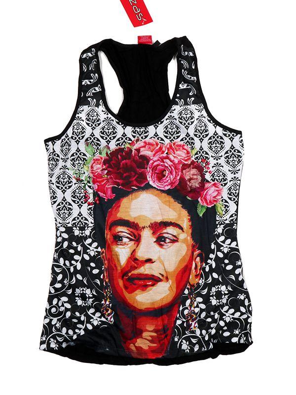 Top y Blusas Hippie Boho Ethnic - Top tirantes estampado Frida Kahlo [TOUN41] para comprar al por mayor o detalle  en la categoría de Ropa Hippie Alternativa para Chicas.