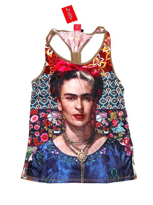 Top y Blusas Hippie Boho Ethnic - Top tirantes estampado Frida Kahlo [TOUN42] para comprar al por mayor o detalle  en la categoría de Ropa Hippie Alternativa para Chicas.