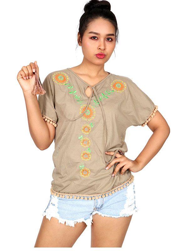 Blusa con bordado étnico - Detalle Comprar al mayor o detalle