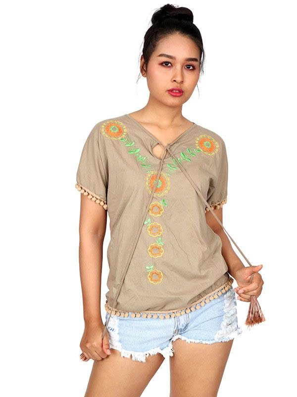 Blusa con bordado étnico TOUN49 para comprar al por mayor o detalle  en la categoría de Ropa Hippie Alternativa para Chicas.