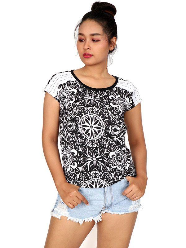 Camisetas y Tops Hippies - Blusa con estampado étnico TOUN51.