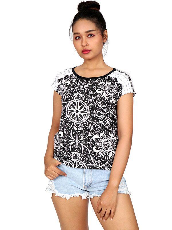 Camisetas y Tops Hippies - Blusa de Mandalas Étnicos TOUN51 para comprar al por Mayor o Detalle en la categoría de Ropa Hippie Alternativa para Mujer