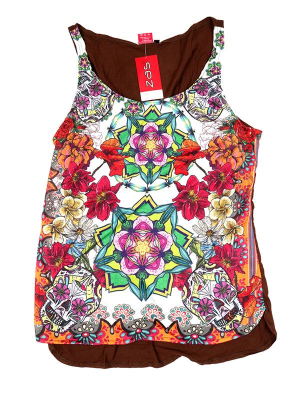 Camisetas y Tops Hippies - Topcon estampado de flores TOUN59 - Modelo Marrón