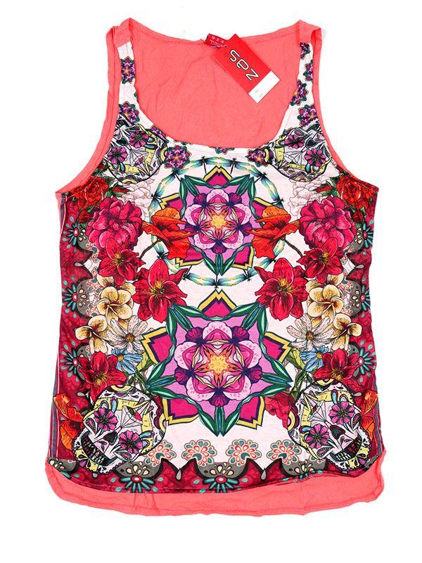 Camisetas y Tops Hippies - Topcon estampado de flores TOUN59 - Modelo SalmÓn