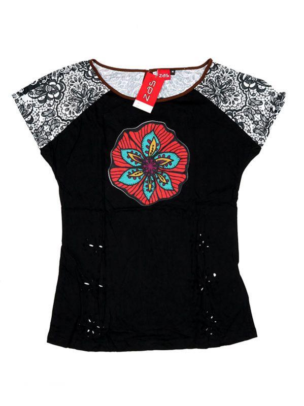 Camisetas y Tops Hippies - Top con troquelado de hojas TOUN60 - Modelo Negro