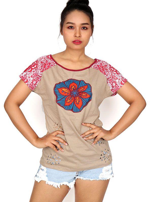 Camisetas y Tops Hippies - Top con troquelado de hojas TOUN60.