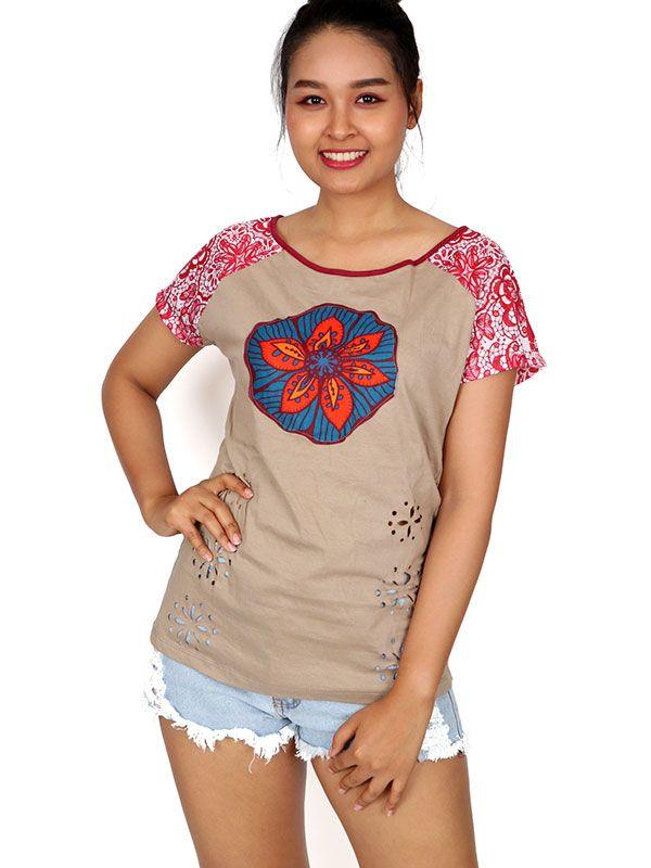 Top y Blusas Hippie Boho Ethnic - Top parche flor étnica [TOUN60] para comprar al por mayor o detalle  en la categoría de Ropa Hippie Alternativa para Chicas.
