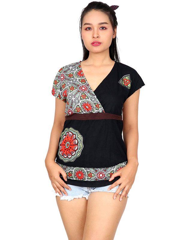 Blusa étnica media manga TOUN62 para comprar al por mayor o detalle  en la categoría de Ropa Hippie Alternativa Chicas.