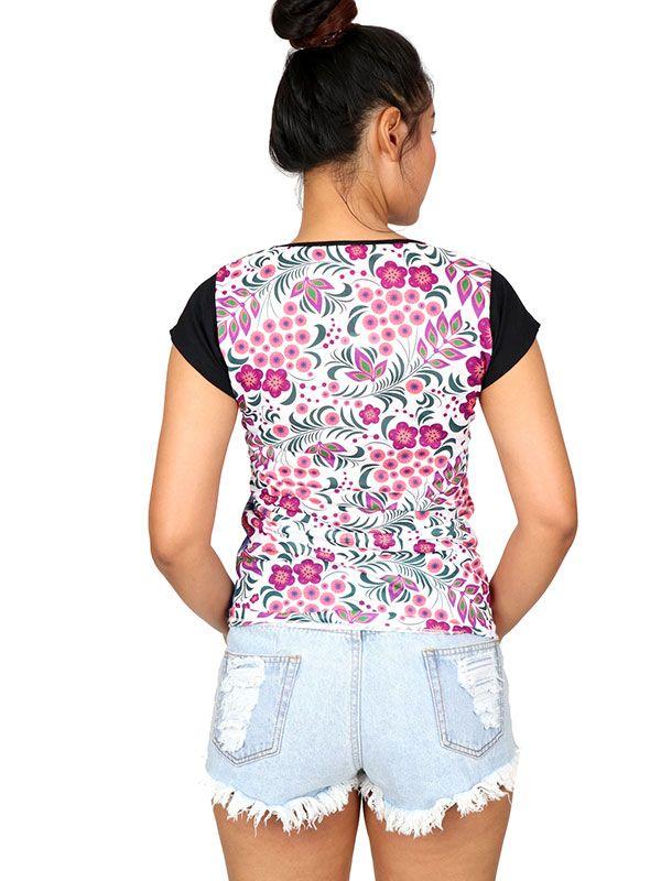Blusa flores media manga - Detalle Comprar al mayor o detalle