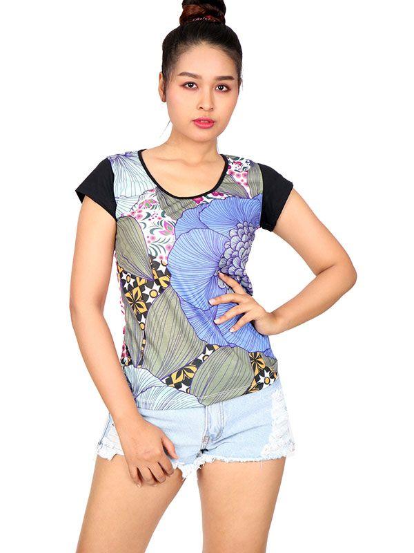 Blusa flores media manga TOUN64 para comprar al por mayor o detalle  en la categoría de Ropa Hippie Alternativa para Mujer.