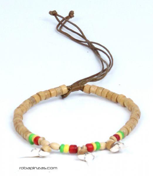 Tobillera regulable de cuentas de madera con dientes de tiburón TOVI02 para comprar al por mayor o detalle  en la categoría de Bisutería Hippie Étnica Alternativa.