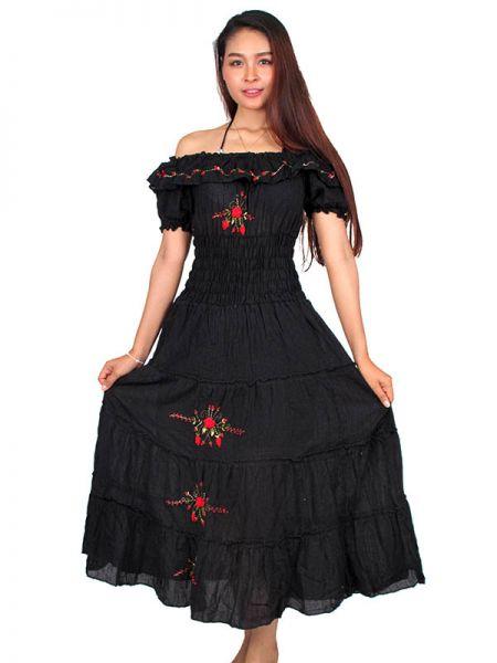 Vestido con bordado de flores y multielástico . Talla única. Comprar - Venta Mayorista y detalle