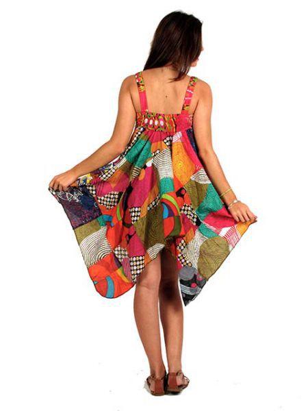 Blusón largo hippie parches asimétrico 100% algodón de tirante Comprar - Venta Mayorista y detalle