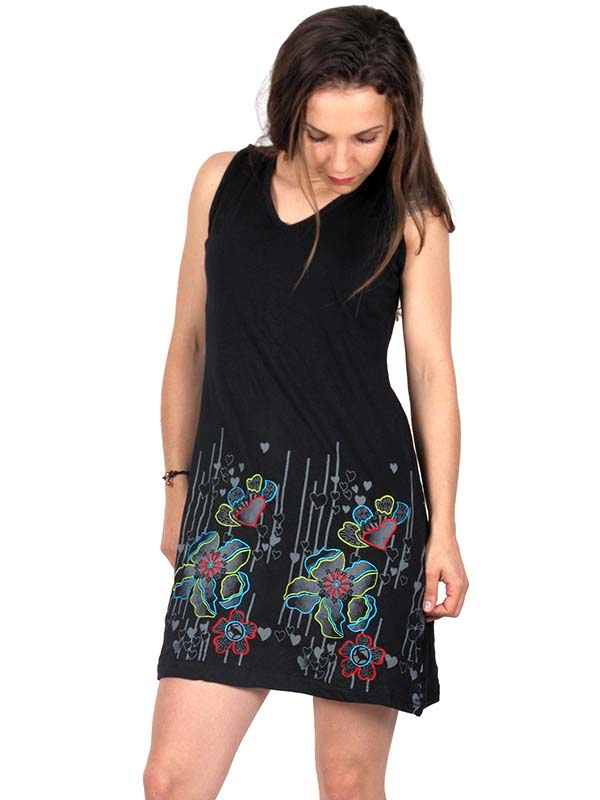 Vestido Bordado flores VEEV06 para comprar al por mayor o detalle  en la categoría de Ropa Hippie Alternativa para Mujer.