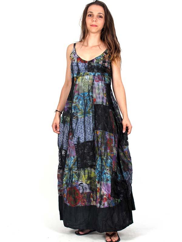 Vestido largo patchwork estampado Comprar - Venta Mayorista y detalle