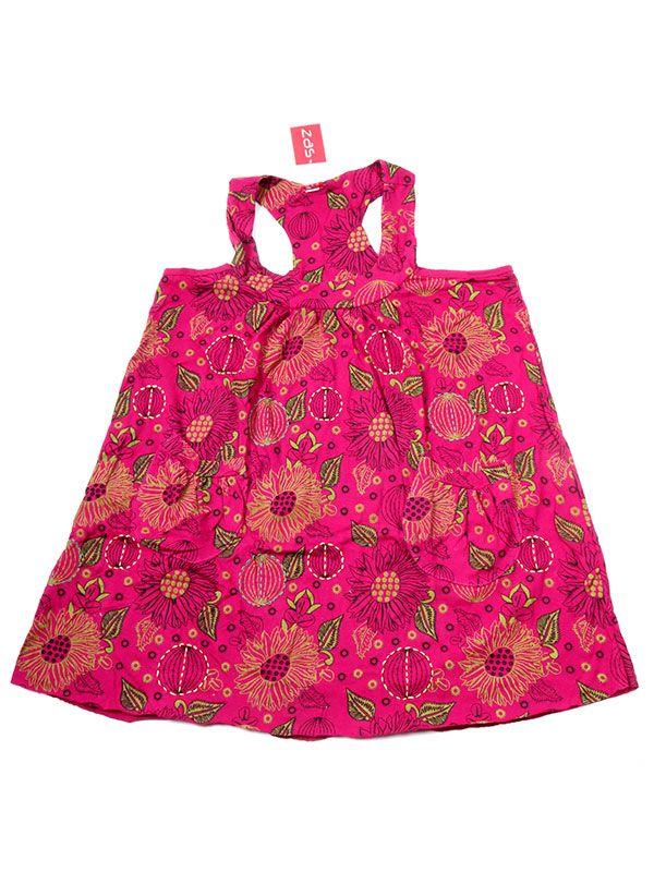 Vestidos Hippie Etnicos - Vestido corto estampado con VEEV17 - Modelo Rojo