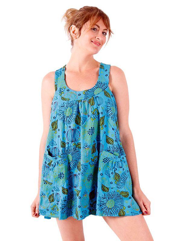 Vestidos Hippie Etnicos - Vestido corto estampado con VEEV17.