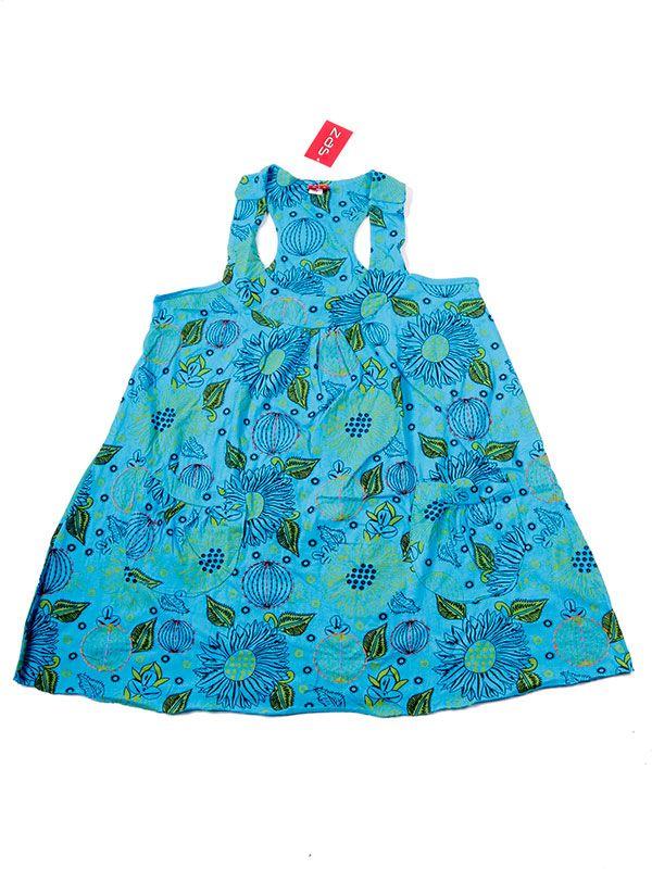 Vestidos Hippie Etnicos - Vestido corto estampado con VEEV17 - Modelo Azul