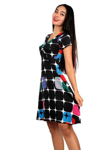 Vestido estampado retro multicolordos modelo de manga corta . Composición: Comprar - Venta Mayorista y detalle