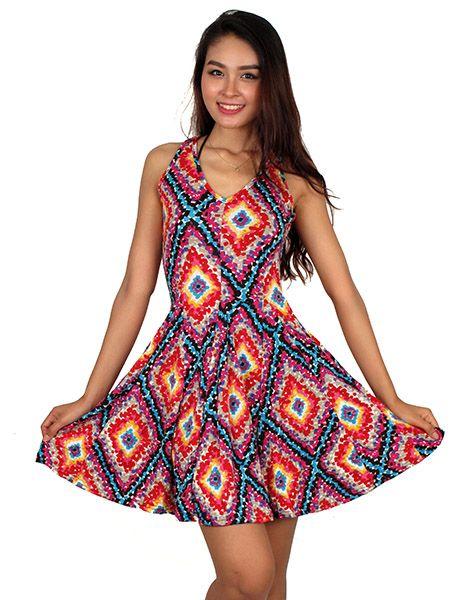 Vestido hippie de figuras geometricas Comprar - Venta Mayorista y detalle